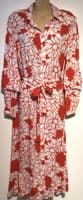 RED WHITE FLORAL BUTTONED MIDI SHIRT DRESS BNWT SIZE M 14